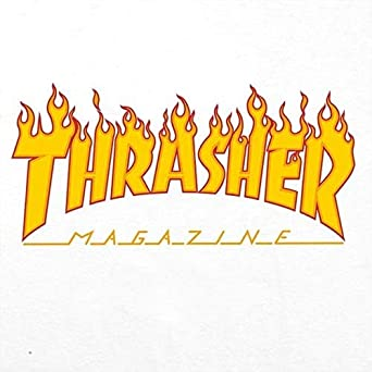 Thrasher Magazine Fire Flame Men/'s Black Cotton T Shirt Solid Color