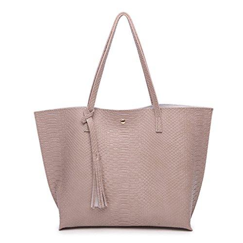 Minimalist Clean Cut Pebbled Crocodile Pattern Tote Womens Shoulder Handbag ()