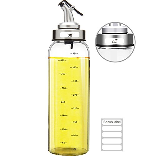 Marbrasse Olive Oil Dispenser Bottle, 17 Oz Vinegar Dispensing Cruets With Dripless Capped Spout, Liquid Condiment Container, Glass Decanter for Kitchen (17OZ)