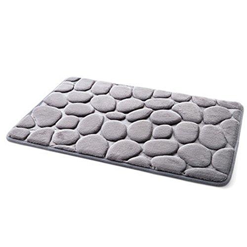 Kangkang@ Cobble Stone Style PVC Bathroom Memory Foam Rug Kit Toilet Pattern Bath Non-slip Mats Floor Carpet Set for Bathroom Decor (gray)