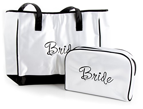 Maven Gifts: Lillian Rose White Satin Bride Travel Bag with White Satin (Front Pocket Tall Tote Handbag)