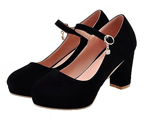 Chaussures à Moolarmi Légeres Suédé Noir Rond Haut Talon Femme Boucle Oxq4aU