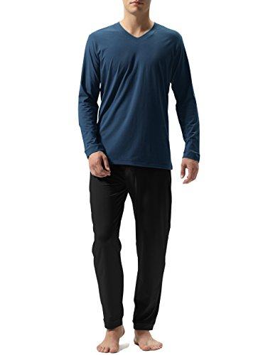 David Archy Men's Cotton Long Sleeve Sleep Top and Bottom Pajama Set (M, ()