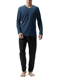 Men's Cotton Long Sleeve Sleep Top And Bottom Pajama Set