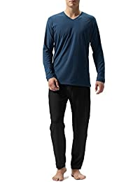 David Archy Men's Cotton Long Sleeve Sleep Top and Bottom Pajama Set