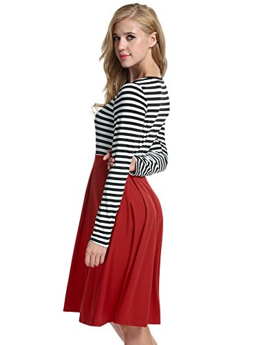 Neck 4 Sleeve Skater Long Slim 3 Stripe Dress ACEVOG Scoop Red Casual Dresses Fit Women's Mini q4xpYWUEng