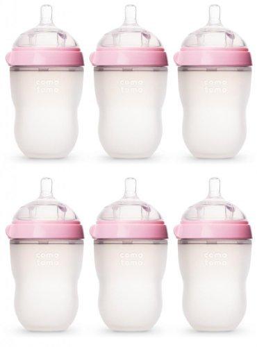 Comotomo Natural Feel 8oz. Bottle 6 Pack - Pink