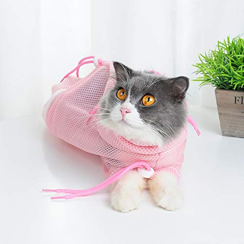 Cat Grooming Bag,Adjustable Multifunctional Cat Washing Bag,Restraint Bag for Cat Bathing, Clipping, Cleaning and Going Out Pet Supply.(Pink)