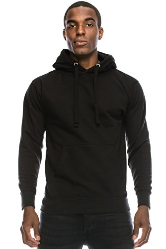 [Men's Hipster Hip Hop Basic Unisex Pullover Hoodie BLACK Sweatshirts 3XL Big Size] (Big Mens Hoodie)