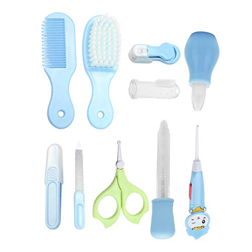 10Pcs Baby Health Care Nail Tools Infant Safety Nail Clipper Scissor Newborn Grooming Kit(Blue)