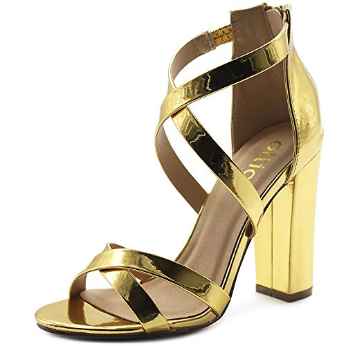 Ollio Women's Shoes Faux Leather Ankle Toe Cross Strap Zip Up High Heels Pumps Sandals H98 (7.5 B(M) US, Gold) (Yellow Gold Shoe)