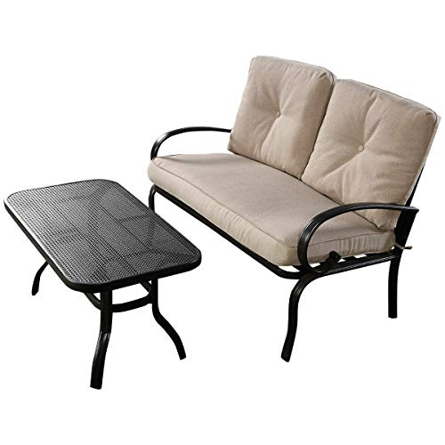 Patio Outdoor LoveSeat Coffee Table Set Furniture Bench with Cushions 2 PC