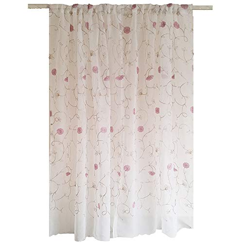 Cheap Rustic Pink Purple Chrysanthemum Embroidered Curtain Sheer Floral Window Curtain Voile Tulle Living Room Bedroom Kitchen Drapery Rod Pocket Top Yarn 1 Panel (75 Inch Wide 96 Inch Long)