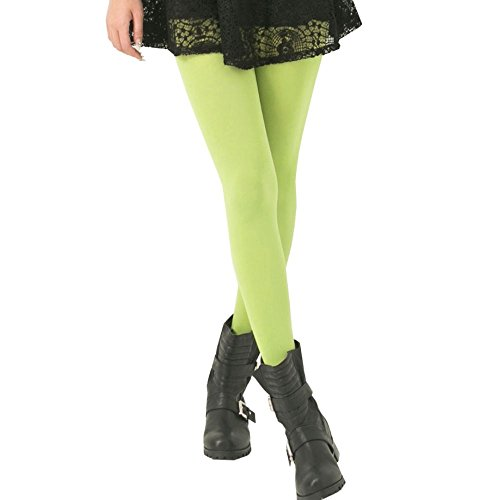 KoolFree Microfiber Opaque Solid Color Stretchy Pantyhose Tights (light lime) One (Opaque Light)