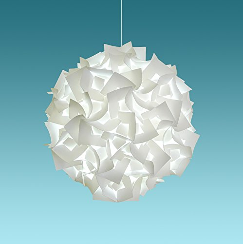 """12' Deluxe Paper Lantern - Akari Lanterns Deluxe Squares 22"""" wide , Cool White Glow, Modern & Unique Ceiling Hanging Light Fixtures / Swag Plug in or Hardwire as Pendant Lamp Shade - Spiral bulb included, Easy to install"""