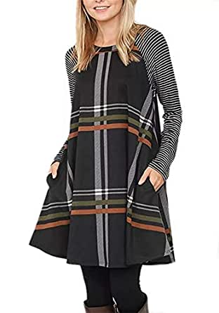 Imily Bela Womens Plaid Striped Dresses Patchwork Lightweight Long Sleeve Loose Casual Pockets Black