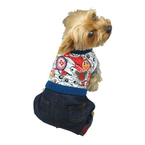 Anima Red Overall with Shirt Top for Pets, Large