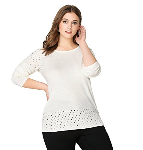 Avenue Women's Basket Weave Pullover, 18/20 White