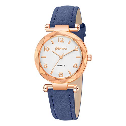 chenqiu Fashion Geneva Watch, Ladies Luxury Waterproof Trend Leather Strap Simulation Quartz Drill Watch Casual Business Watch