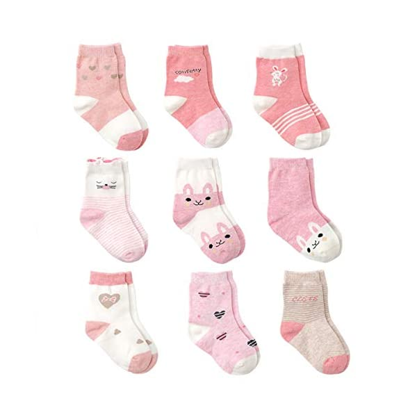 Cotton Coming Rosa Cotone Bambina Neonata Calzini ,9 Paia Carino Bambino Calzamaglie Neonata, Calzini per bambina 1