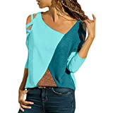 Womens Color Block Long Sleeve Tunic Sweatshirt Off Shoulder Round Neck Casual Panel Top Pullover Tops Blue