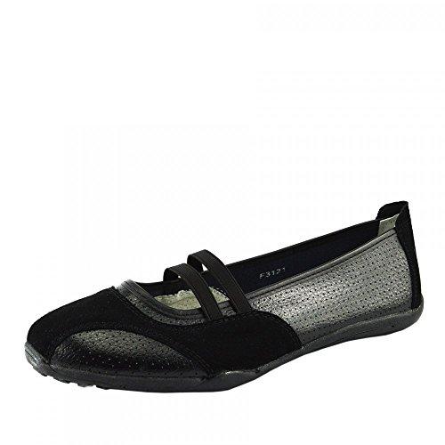 Kick Footwear - Damen Ballerina Ballett Dolly Pumps Damen Schwarz Slipper Schuhe Größe Neu Black F3121