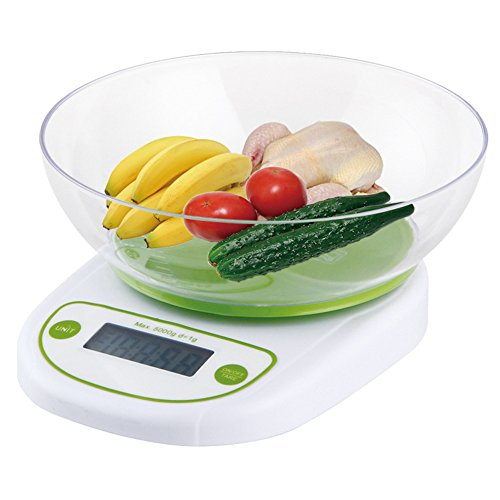 ParaCityDigital Kitchen Scale 11lb/5kg Multifunctional Food Kitchen Bowl Scale with Backlight LCD Display
