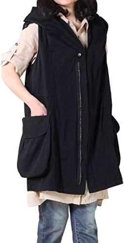 Mordenmiss Women's Sleeveless Coat Big Pockets Waistcoat Travel Hoodie Vest