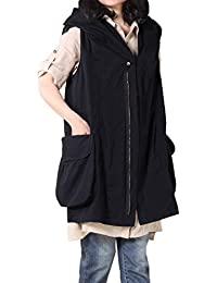 Women's Sleeveless Coat Vest Hoodie Waistcoat Anoraks with Big Pockets