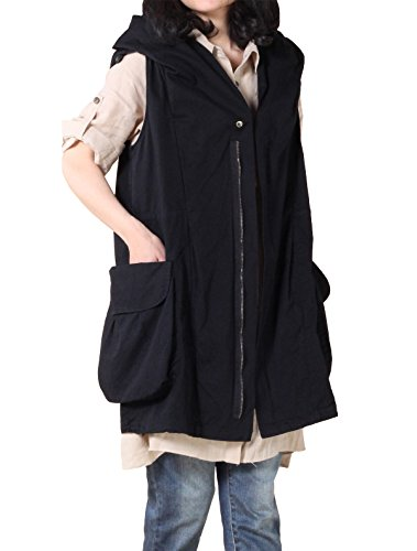 Mordenmiss Women's Sleeveless Coat Big Pockets Waistcoat Travel Hoodie Vest (XXL, Style 1-black)