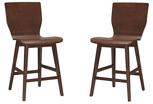 Elsa Mid-century Modern Scandinavian Style Dark Walnut Bent Wood Dining Chairs (Set of 2) - Baxton Studio