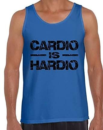 Awkward Styles Men's Cardio Is Hardio Tank Tops Black Lightning GYM Blue S