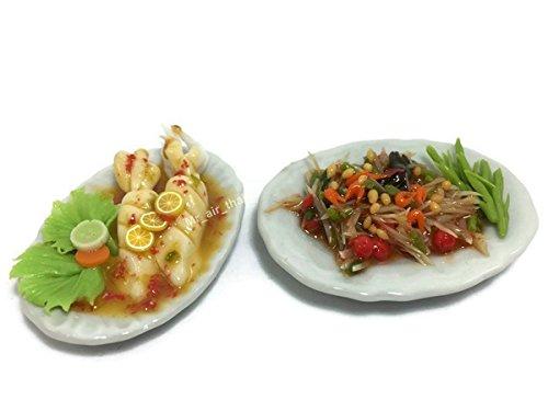 Mr_air_thai_Miniature 2 Miniature Set Food Thai Dollhouse Drink Food Vegetable Fruit Decor Furniture (Papaya Salad,Spicy Squid) F06 ()