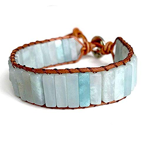 YGLINE Bohemia Bracelet Amazonite Single Vintage Leather Wrap Bracelet Semi Precious Stone Beaded Cuff Bracelet