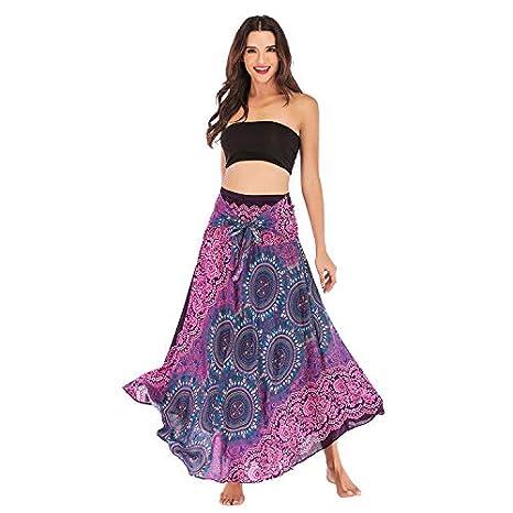 DEELIN Falda para Mujer Verano Casual Larga Hippie Bohemia ...