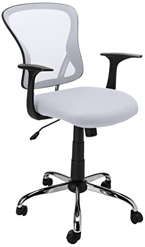 - Flash Furniture Mid-Back White Mesh Swivel Task Chair with Chrome Base and Arms