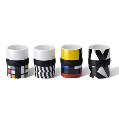 Po Selected Espresso Cup with Silicone Ring Set, Porcelain Silicone White, 4.7 x 4.7 x 6.5 cm, Set of 4, Yellow/ Red/ Blue/ Green/ Black by OPP