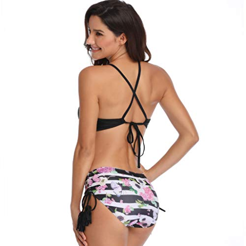 Schwarze halter hoher taille bikini bademode damen badeanzug