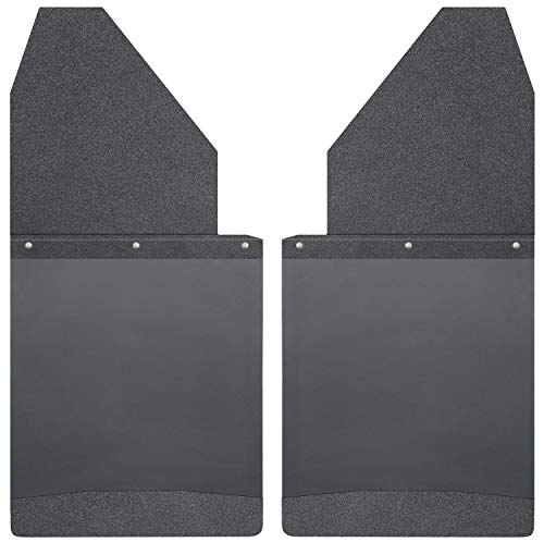 Husky Liners Kick Back Mud Flaps 14IN Wide -Black Top/Wt Fits Silverado/F150/Ram