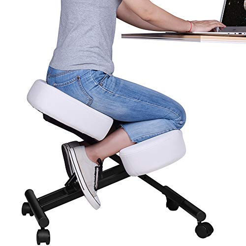 DRAGONN Ergonomic Kneeling Chair, Adjustable Stool for Home and Office - Improve Your Posture with an Angled Seat - Thick Comfortable Cushions (White)