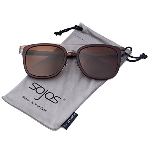 SojoS Classic Square Sunglasses for Men Vintage Metal Rim Double Bridge SJ2019 Brown Frame/Brown - Glasses Looking Good Mens