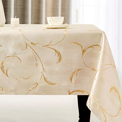 Villa Feel Leaf Embroidered Table Cloth Classic Luxurious Decorative Tablecloth Spill-Proof and Water Resistance Table Cover for Kitchen Dining (Rectangle/Oblong, 54 x 120 Inch,Ivory Golden)