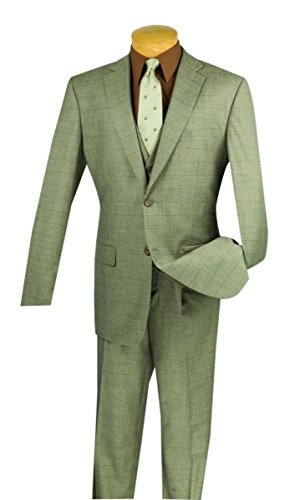 Vinci Window Pane 2 Button Single Breasted Classic Fit Suit W/Vest V2RW-11-Light Taupe-50R (Taupe 3 Button Mens Suit)