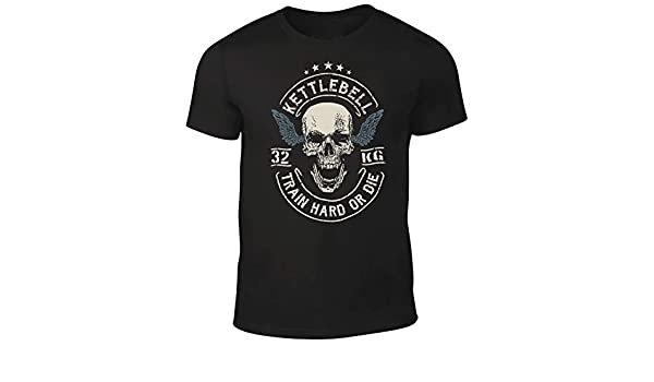 Amazon.com: DesignDivil Quality Mens Skull Crossed Barbells T-Shirt Weightlifter Kettlebell Bodybuilding Gym: Clothing