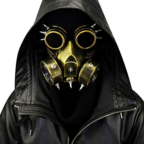 Skeleton Gas Mask (Steampunk Gas Mask Goggles Spikes Skeleton Warrior Death Mask Masquerade Cosplay Halloween Costume)