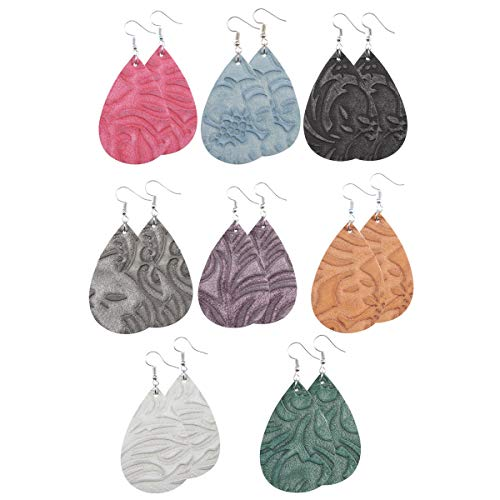 - Floating Pattern Leather Earrings for Women Lightweight Leather Teardrop Earrings Dangle for Women 8 Pairs
