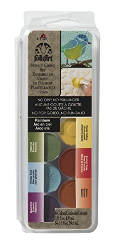 FolkArt Stencil Creme Set, 34124 Rainbow - Dry Brush Stencil Paint