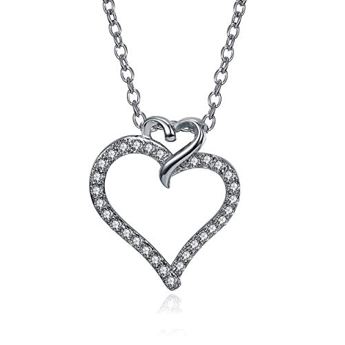 LUX AND GLAM Lovely Cubic Zirconia Heart Pendant Necklace Collection On Highly Polished 18 Anchor Chain Secures with Spring Ring Clasp