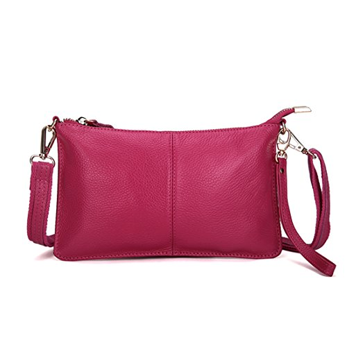 Artwell Women Genuine Leather Clutch Handbag Crossbody Shoulder/Wristlet Purse for Party Wedding Shopping (Rose) by Artwell