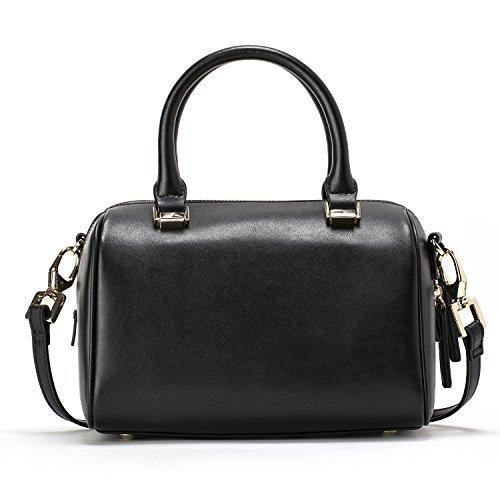 JESSIE & JANE Women Leather Small Boston Bag Crossbody Bag Top Handle Handbag 1293 Black